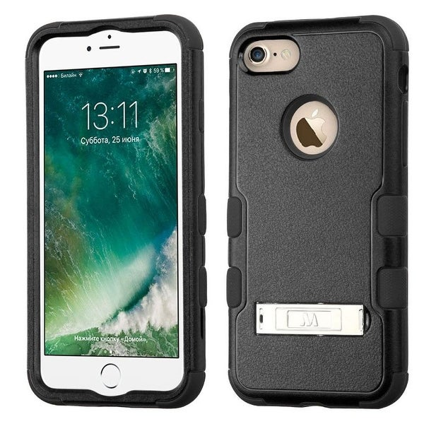 Insten Hard PC/ Silicone Hybrid Dual Layer Hybrid Rubberized Matte Case Cover with Stand For Apple iPhone 7