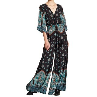 L'Atiste Black Teal Womens Size Small S Paisley Surplice Jumpsuit