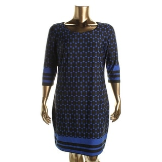 NY Collection Womens Plus Wear to Work Dress Stretch Printed