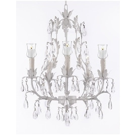 White Wrought Iron Floral Chandelier With Votive Candles- For Indoor / Outdoor Use!