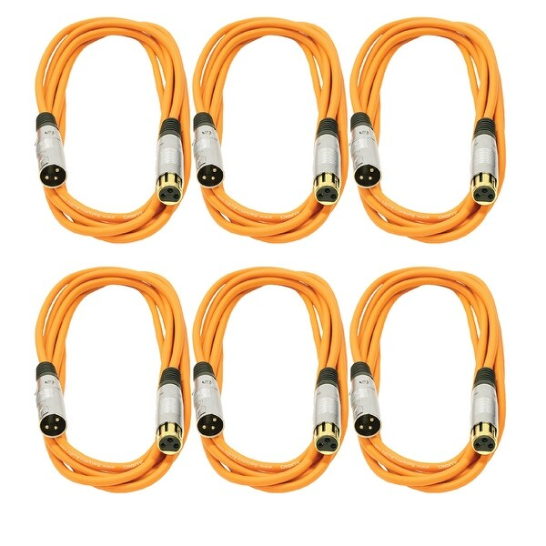 Seismic Audio 6 Pack of Premium 10 Foot Orange Gold Plated XLR Microphone Patch Cables