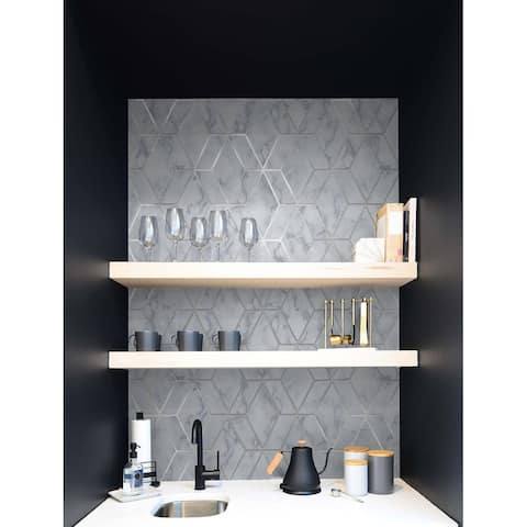 NextWall Faux Marble Tile Peel and Stick Wallpaper - 20.5 in. W x 18 ft. L