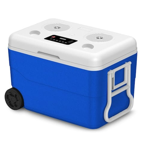 Technical Pro Rechargeable 55 Quarts Cooler w/ Waterproof Built-in Bluetooth Speaker and Power Bank, Great for Picnics, Camping,