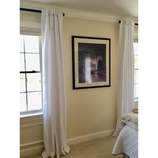 Ice White Vintage Faux Textured Dupioni Silk 108L Curtain Panel