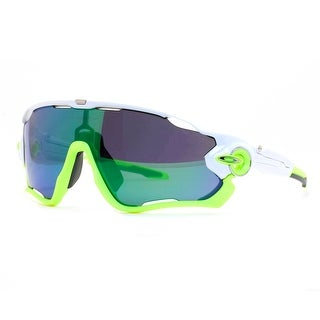 OAKLEY Shield Jaw Breaker Men's 03 Polished White/Lime Green Jade Iridium Sunglasses - 99mm-0mm-121mm