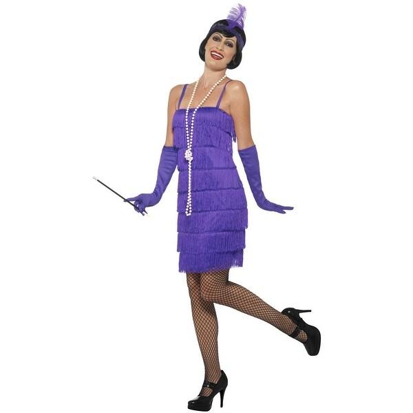 Smiffy Short Flapper Dress Adult Costume (Purple) - Purple