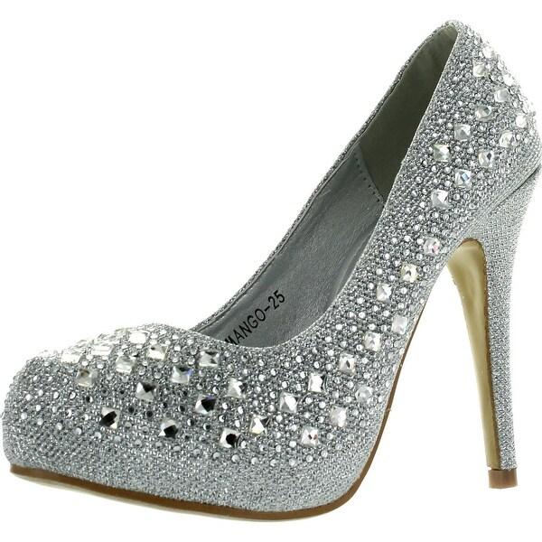 Top Moda Womens Mango-25 Rhinestone Studded Sparkling Platform Stiletto Heel Dress Pumps - Silver