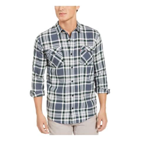 LEVI'S Mens Gray Windowpane Plaid Collared Classic Fit Cotton Dress Shirt XL