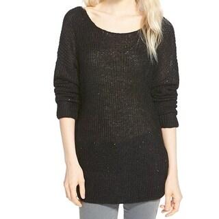 Chelsea28 NEW Black Women's Size Medium M Sequin Rib Knit Sweater