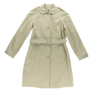 Anne Klein Womens Twill Peter Pan Collar Trench Coat - 16