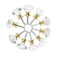 30mm Diamond Shaped Crystal Glass Drawer Knobs Cabinet Pull Handle Gold Tone 10pcs