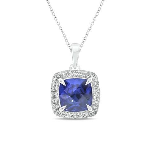 Cali Trove Sterling Silver Cushion Checkers Blue Sapphire Round White Sapphire Gemstone Pendant for Women