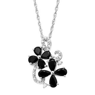 1 1/4 ct Natural Onyx Flower Pendant with Diamonds in Sterling Silver - Black
