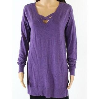 Designer NEW Purple Womens Size Medium M Side-Split Criss-Cross Sweater