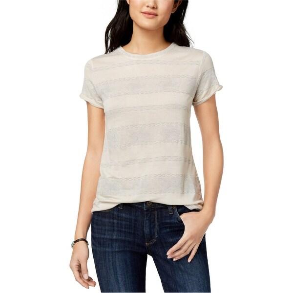 Lucky Brand Womens Metallic Stripe Basic T-Shirt, Off-white, Medium. Opens flyout.