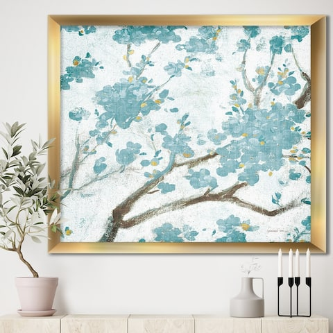 Designart 'Teal Cherry Blossoms I' Traditional Floral Framed Art Print