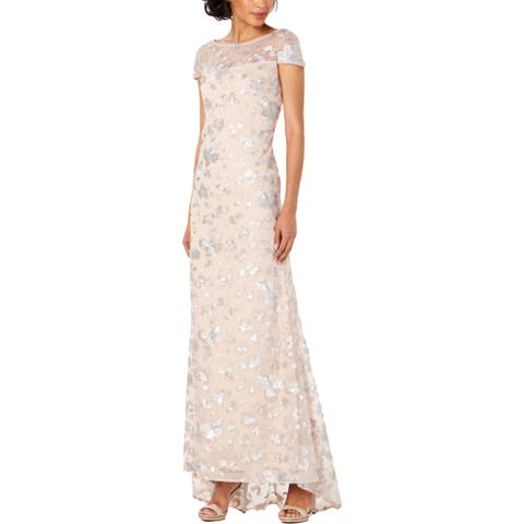 Calvin Klein Womens Formal Dress Mesh Sequined - Nude/Silver