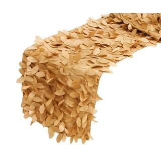 "Leaf Petal Taffeta Table Runner Approx: 13""x108"" - Gold"