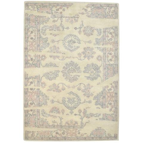 "One of a Kind Hand-Tufted Americana 5' x 8' Oriental Wool Beige Rug - 5'0""x7'6"""
