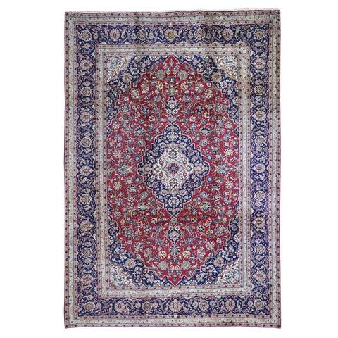 """Shahbanu Rugs Good Condition Old Persian Kashan Soft and Pliable Organic Wool Hand Knotted Red Fine Oriental Rug (8'5"""" x 11'6"""")"""