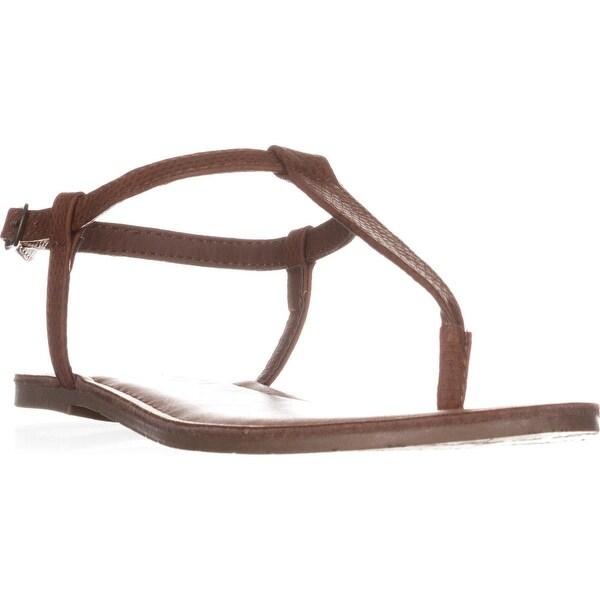 AR35 Krista Thong T-Strap Flat Sandals, Cognac