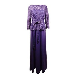 Patra Women's Lace Popover Belted Chiffon Skirt Gown