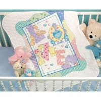 "Baby Hugs Zoo Alphabet Quilt Stamped Cross Stitch Kit-34""X43"""