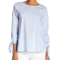 Vince Camuto Women's Small Gingham Tie-Sleeve Blouse