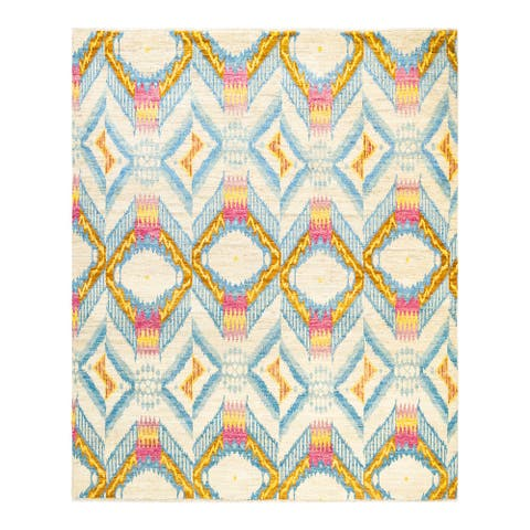 """Modern, One-of-a-Kind Hand-Knotted Area Rug - Ivory, 7' 10"""" x 8' 4"""" - 7' 10"""" x 8' 4"""""""