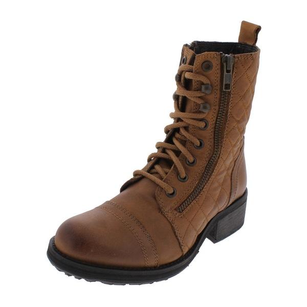 Steve Madden Womens Yanki Combat Boots Quilted Mid-Calf - 5.5 medium (b,m)