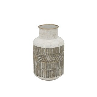 "Link to Metal 10"" Deco Geometric Jar,Beige Similar Items in Accent Pieces"