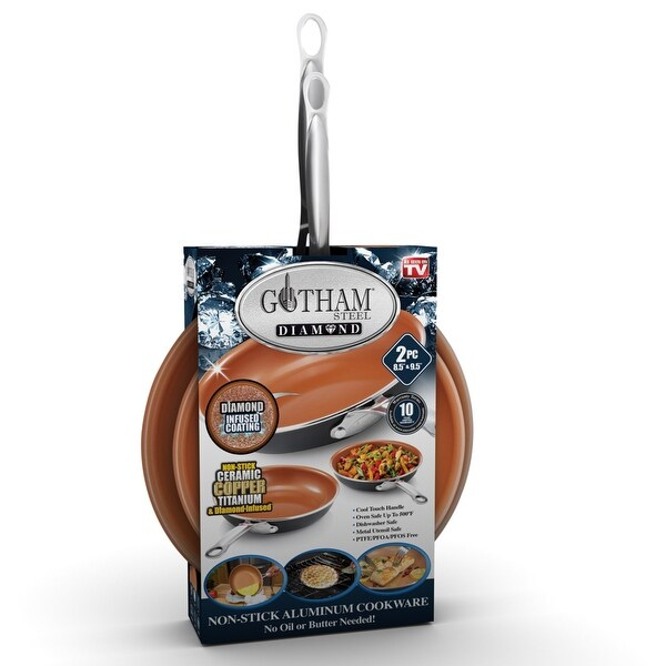 Gotham Steel Non Stick 2pk -8.5' and 9.5' Fry Pan/PFOA Free. Opens flyout.