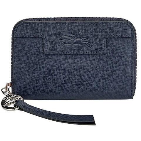 LongChamp Womens Blue Pebbled Le Pliage Neo Wallet Zip Around