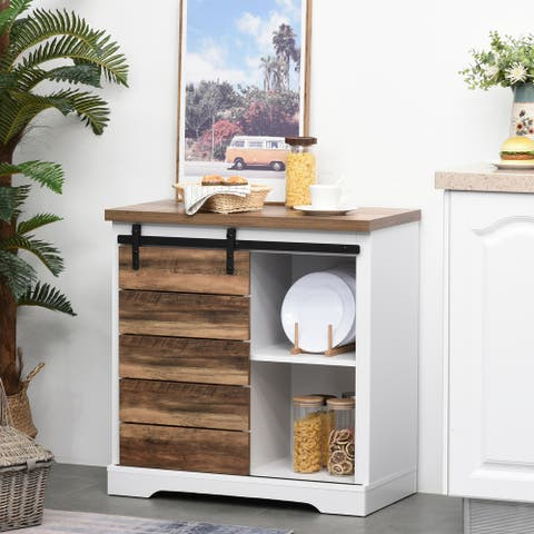 HOMCOM Rustic Farmhouse Accent Side Cabinet Buffet Sideboard with Sliding Barn Door and Interior Shelves, White/Brown