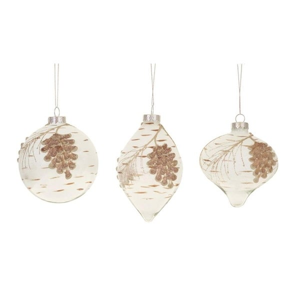 "Set of 6 Rustic Assorted Snowy Glittered Pine Cone Glass Christmas Ornaments 4"" - brown"