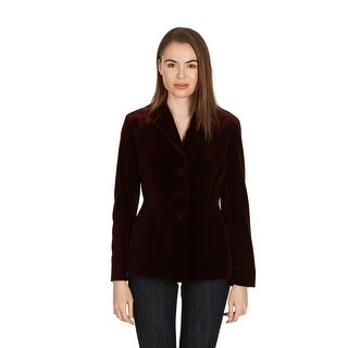 Dior Women's Burgundy Velvet Three Button Blazer - 8