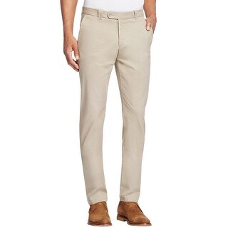 Bloomingdales Brushed Cotton Flat Front Chinos Pants Beige 38 x 34