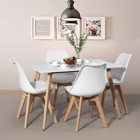 "TiramisuBest 43.3"" Square High Glossy Wood Dinning Table White"