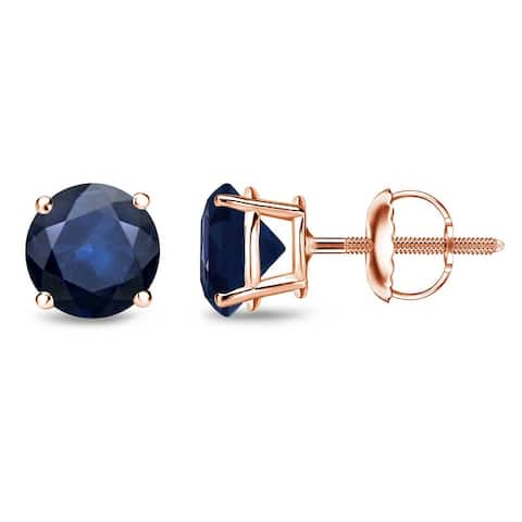 Auriya 14k Gold Round Sapphire Stud Earrings 2ctw