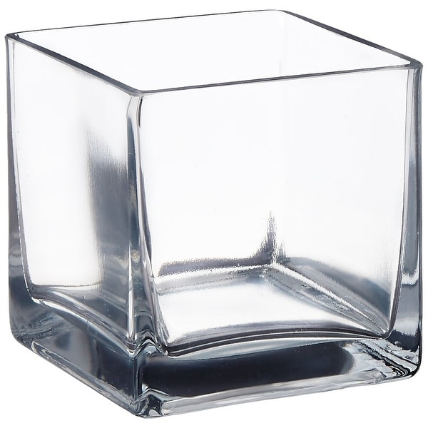 "Afloral Clear Cube Glass Vase 5"" x 5"" - 5 x 5"