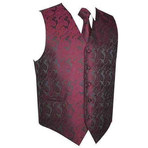 Q Mens Vest Purple Black Size Large L Paisley Print 2-Piece Two-Tone