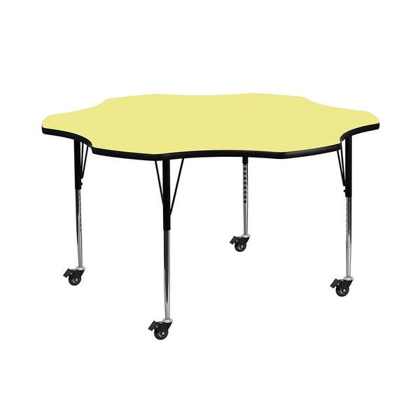"""Offex 60"""" Mobile Flower Shaped Activity Table with Yellow Thermal Fused Laminate Top and Standard Height Adjustable Legs - N/A"""