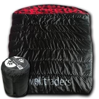 Wolftraders TwoWolves 0 Degree Fahrenheit 2-Person Premium Ripstop Sleeping Bag, Black/Red