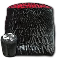 Wolftraders TwoWolves +0 Degree Fahrenheit 2-Person Premium Comfort Nylon Sleeping Bag, Black/Red