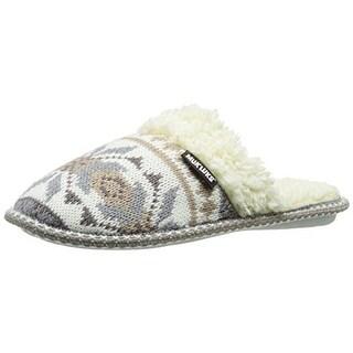 Muk Luks Womens Fair Isle Faux Fur Lined Mule Slippers - M