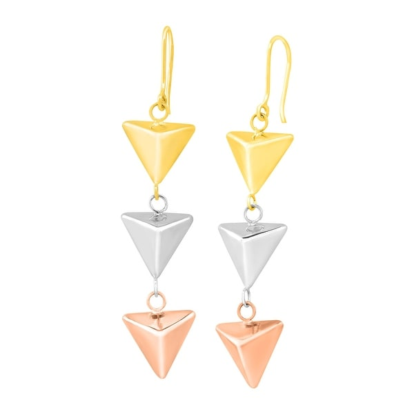 Just Gold Pyramid Drop Earrings in 10K Three-Tone Gold - Two-tone