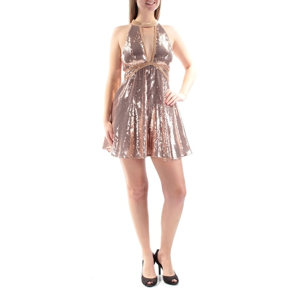 d7d6d67ad1f Shop FREE PEOPLE Womens Pink Sequined Velvet Trim Sleeveless Halter Mini Fit  + Flare Party Dress Size  8 - Free Shipping On Orders Over  45 - Overstock  - ...