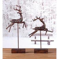 Set of 2 Country Rustic Cut-Out Leaping Reindeer Christmas Table Top Figures 17""