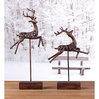 """Set of 2 Country Rustic Cut-Out Leaping Reindeer Christmas Table Top Figures 17"""" - brown"""