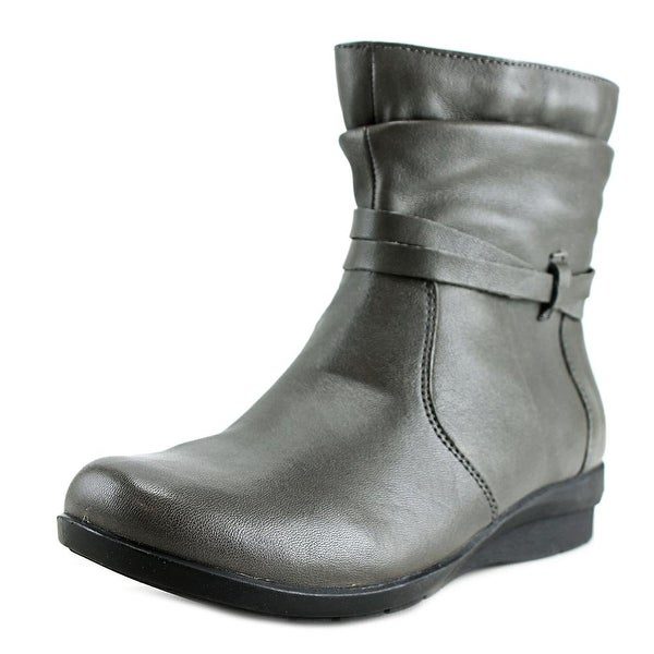 Array Erin Women Round Toe Leather Gray Bootie